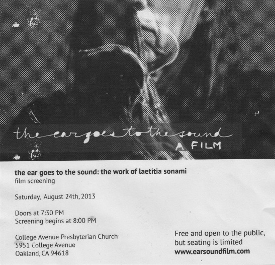 Laetitia Sonomai film advert 8/24 at 8pm at CAPC
