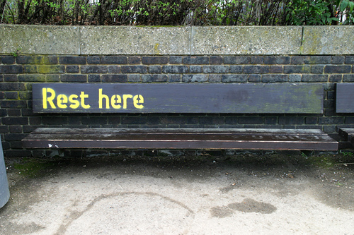 Rest Here on a bench